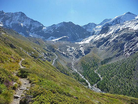 Weisshorn, Schalihorn and Zinalrothorn at the head of the valley