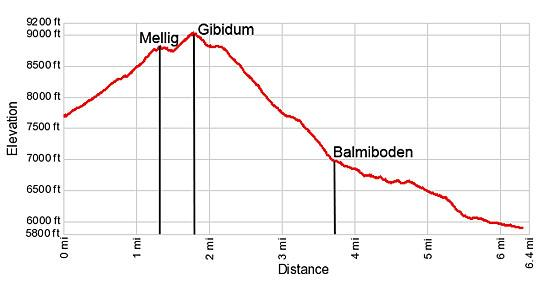 Elevation Profile for Mellig, Gibidum and the Bieder Glacier