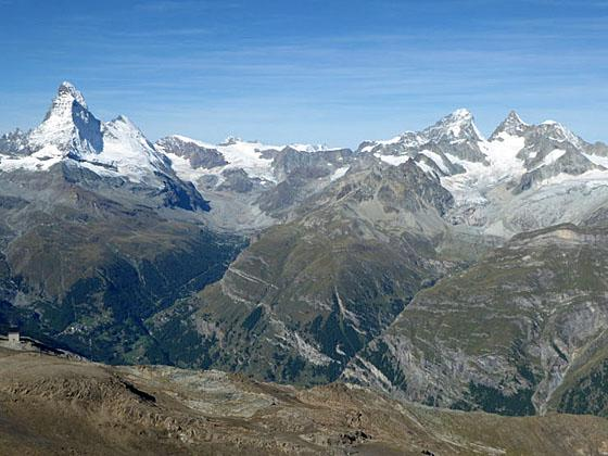 The Matterhorn and Dent Blanche bookend the cirque at the head of the Zmutt Valley