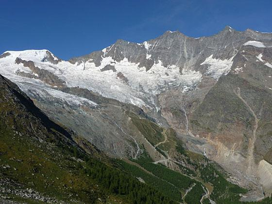 Terrific view of the 4,000-meter peaks rising to the west of Saas Fee