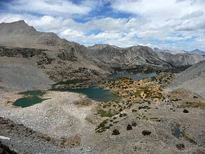 View of the Bishop Lake Basin from the trail to the pass