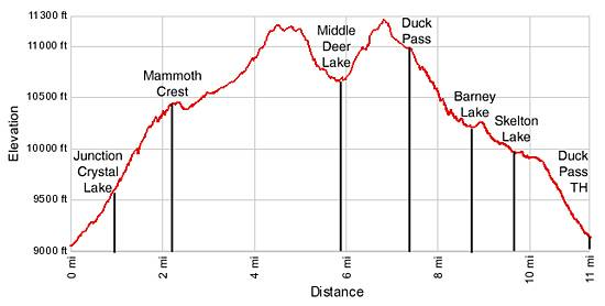 Mammmoth Crest Elevation Profile