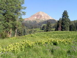 Dolores Peak (13,290-ft.) from the meadows on the Navajo Lake Trail