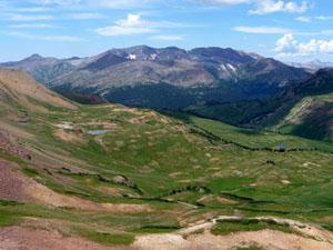 Looking west from the pass towards Purity Basin and the Treasure Mountains