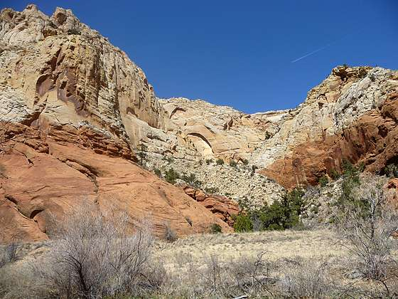 The colors of the canyon walls contrast nicely with the clear blue sky