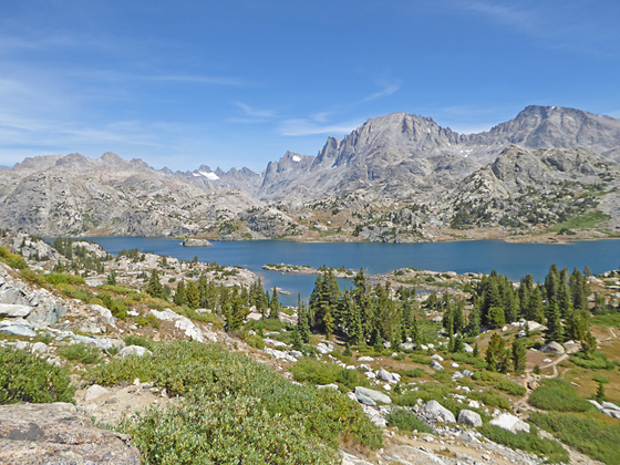 The peaks towering above Titcomb Basin form the backdrop for beautiful Island Lake