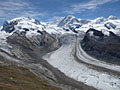 Monte Rosa, Lyskamm, Castor and Pollux from the Gornergrat viewpoint