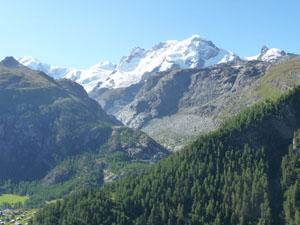 Looking southeast toward Monte Rosa, Lyskamm and the Breithorn