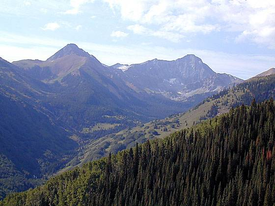 View of Mount Daly and Capitol Peak from the Hell Roaring Trail